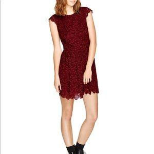 Talula Aritzia Belgravia Burgundy Lace Dress 8